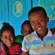 Children outside classroom