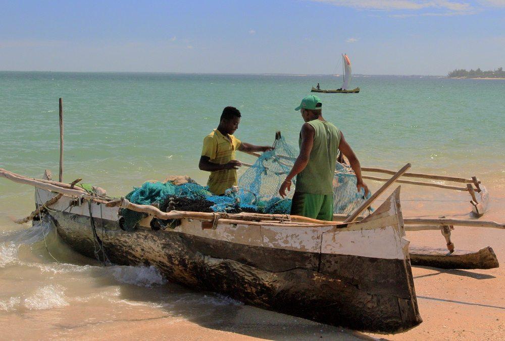Fishermen assessing catch