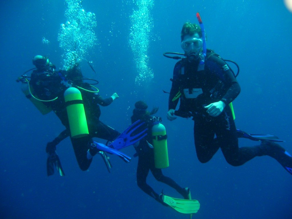 group of divers deep