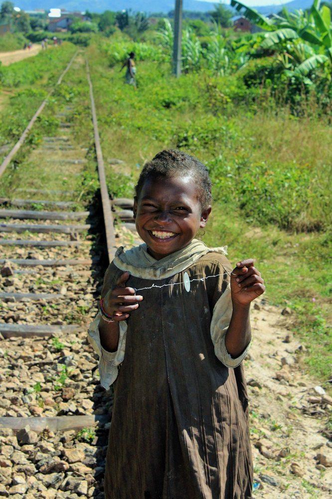 highland girl on traintrack