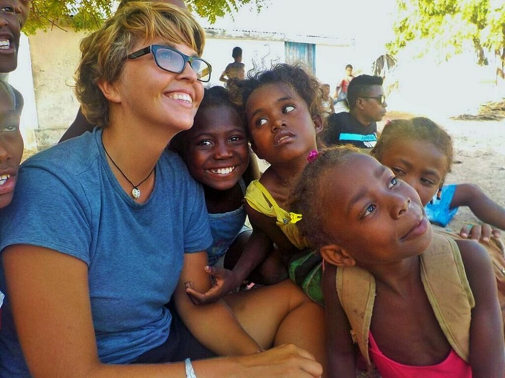 local children and volunteer