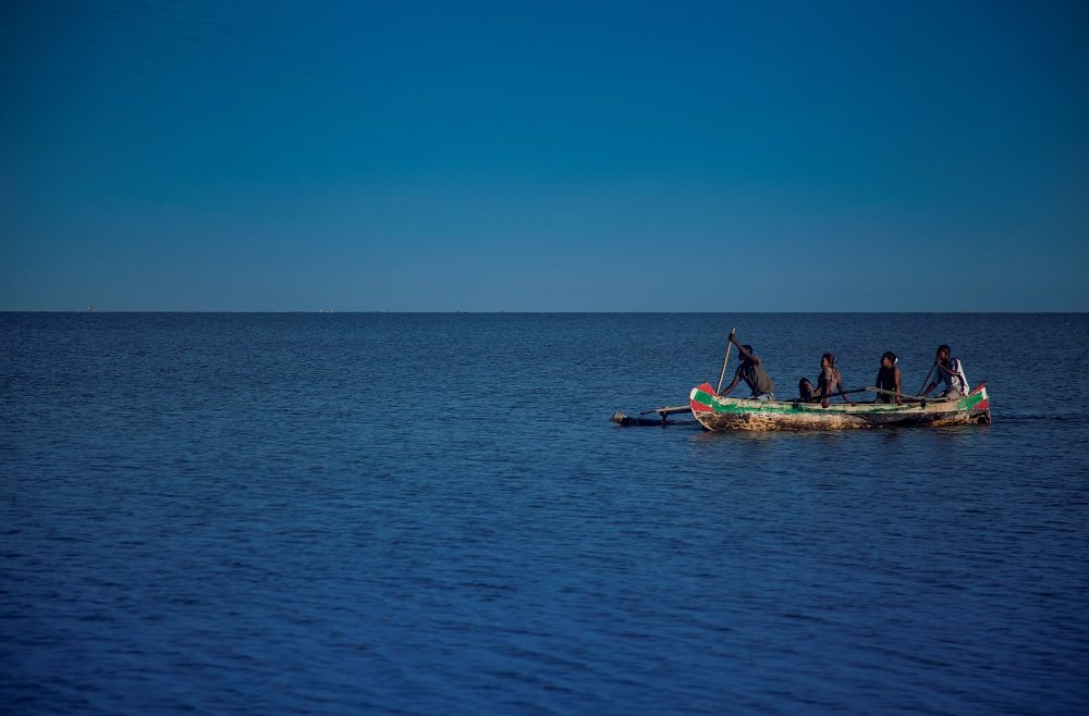 paddling in a pirogue