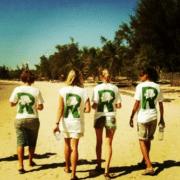 team on beach